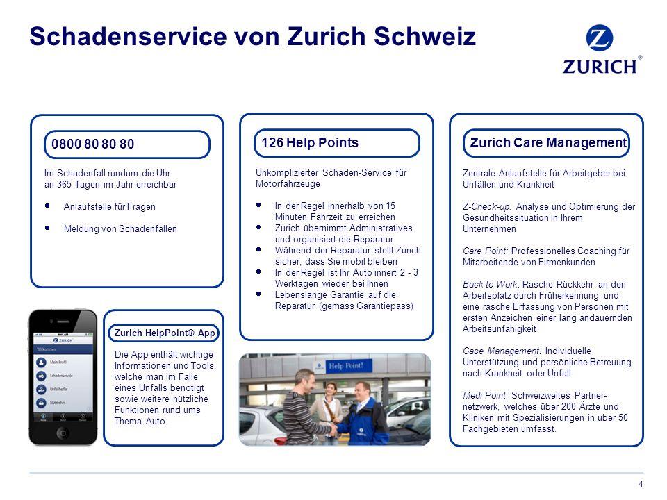 Credit Suisse und Zurich 5  Partnerschaft mit Credit Suisse seit Juni 2013  Attraktive Sonderkonditionen auf Nichtleben-Versicherungen für alle Mitarbeitenden in der Schweiz und im Fürstentum Liechtenstein  Der Kunde wählt den bevorzugten Zugang zum Angebot: persönliche Beratung (Agenturvertrieb Zurich Schweiz) oder per online / Telefon (Zurich Connect)* *Produkte & Tarife von Zurich Schweiz und Zurich Connect können voneinander abweichen.