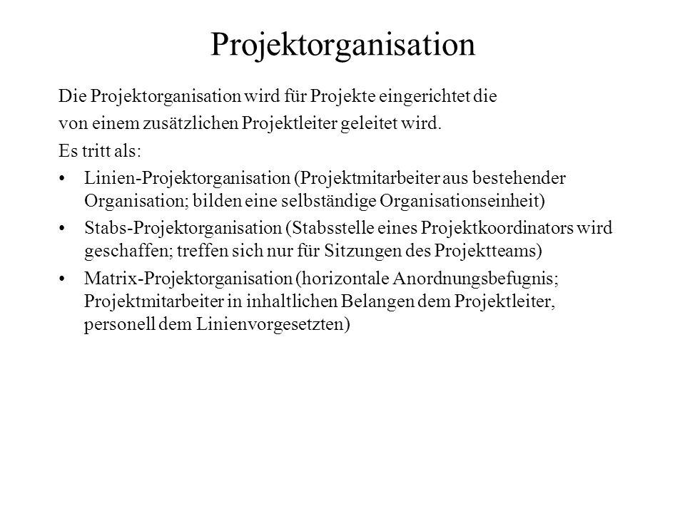 Projektorganisation Die Projektorganisation wird für Projekte eingerichtet die von einem zusätzlichen Projektleiter geleitet wird. Es tritt als: Linie