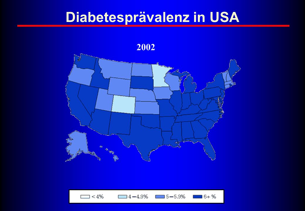 Diabetesprävalenz in USA 2002