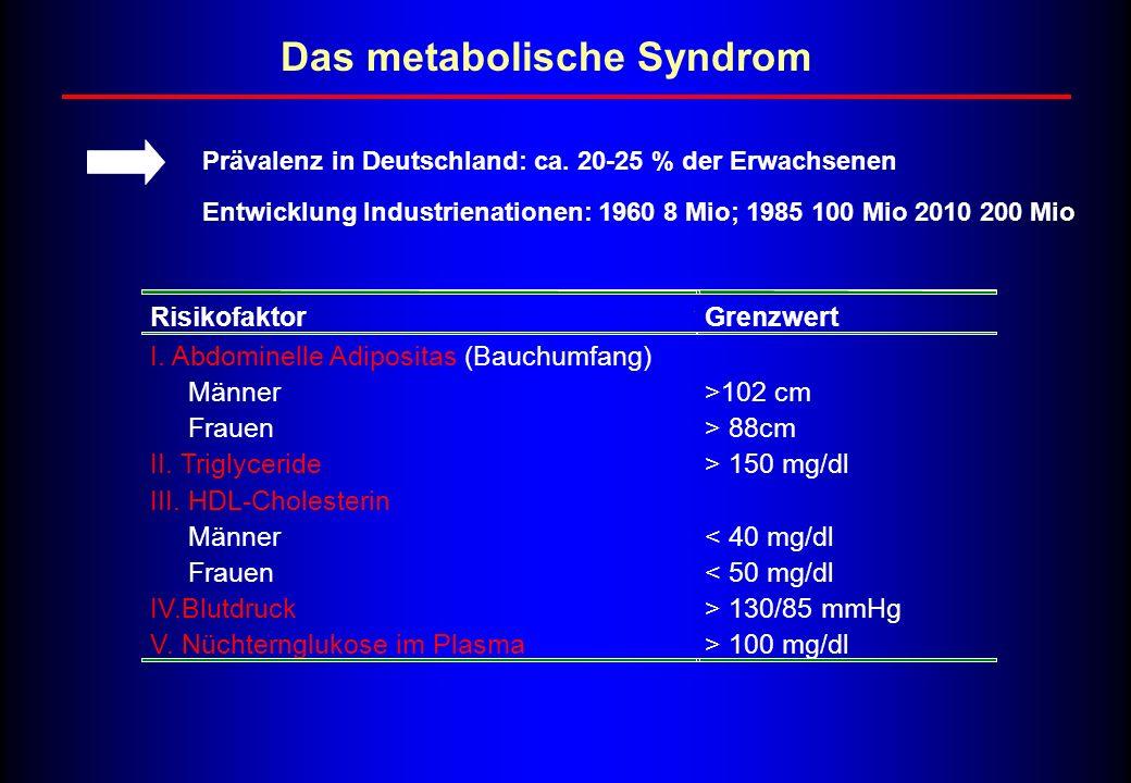 RisikofaktorGrenzwert I. Abdominelle Adipositas (Bauchumfang) Männer Frauen >102 cm > 88cm II. Triglyceride> 150 mg/dl III. HDL-Cholesterin Männer Fra
