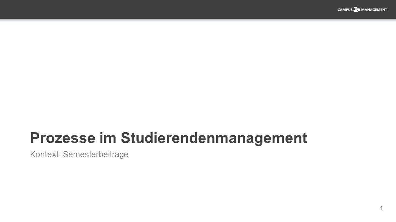 1 Prozesse im Studierendenmanagement Kontext: Semesterbeiträge