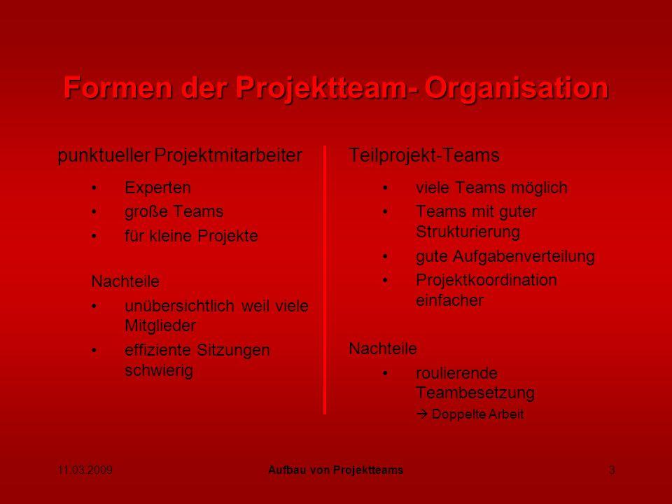 11.03.2009Aufbau von Projektteams4 4.