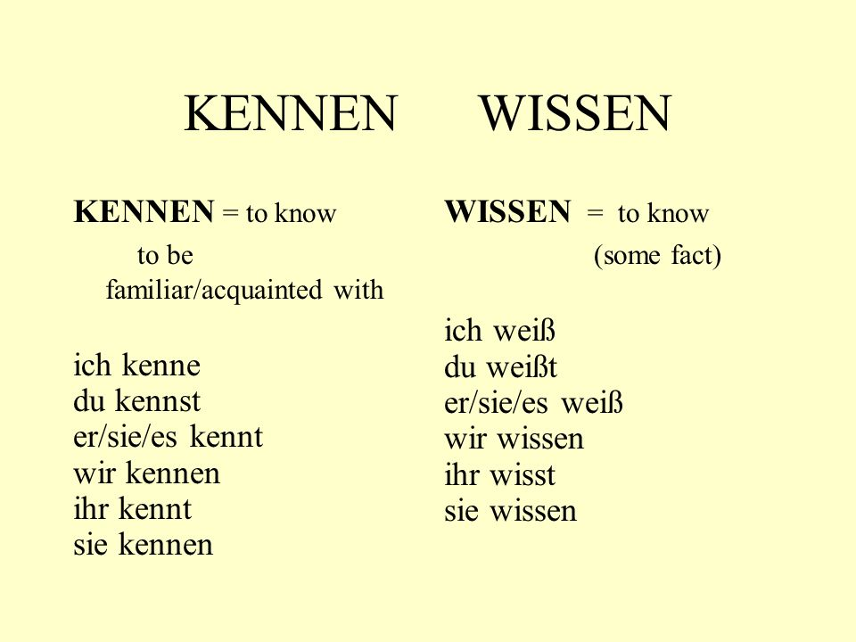 KENNEN WISSEN KENNEN = to know to be familiar/acquainted with ich kenne du kennst er/sie/es kennt wir kennen ihr kennt sie kennen WISSEN = to know (some fact) ich weiß du weißt er/sie/es weiß wir wissen ihr wisst sie wissen