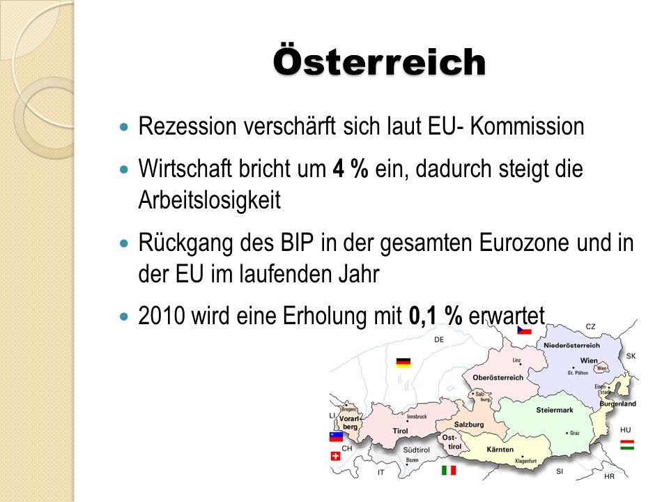 Österreich Budgetdefizit wird heuer auf 4,2 % steigen Die Arbeitslosenrate dürfte 2010 auf 6 % hochschnellen und im nächsten Jahr sogar 7,1 % erreichen.
