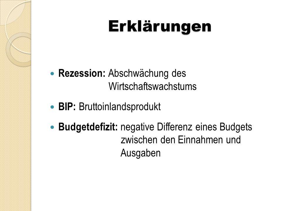 Erklärungen Rezession: Abschwächung des Wirtschaftswachstums BIP: Bruttoinlandsprodukt Budgetdefizit: negative Differenz eines Budgets zwischen den Einnahmen und Ausgaben