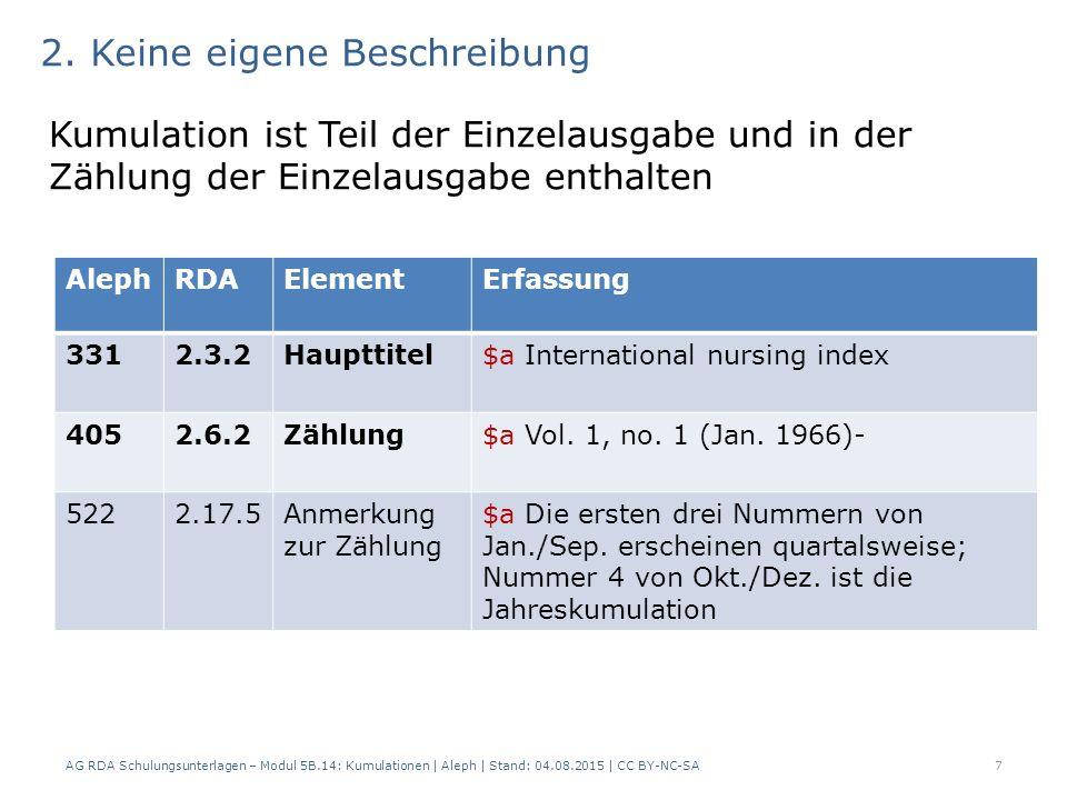 Zweifelsfallregelung Im Zweifelsfall werden eigene Beschreibungen angelegt AG RDA Schulungsunterlagen – Modul 5B.14: Kumulationen   Aleph   Stand: 04.08.2015   CC BY-NC-SA8