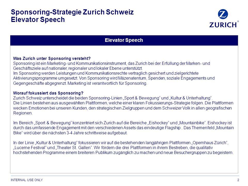 INTERNAL USE ONLY Sponsoring-Strategie Zurich Schweiz Elevator Speech 2 Elevator Speech Was Zurich unter Sponsoring versteht? Sponsoring ist ein Marke