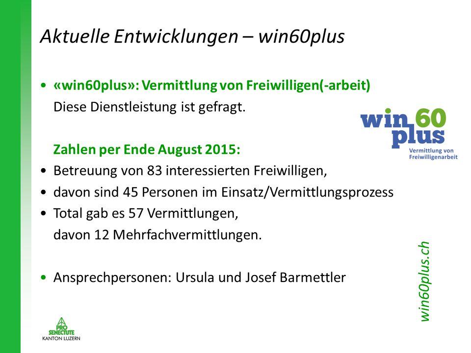 Aktuelle Entwicklungen – win60plus « win60plus » : Vermittlung von Freiwilligen(-arbeit) Diese Dienstleistung ist gefragt. Zahlen per Ende August 2015