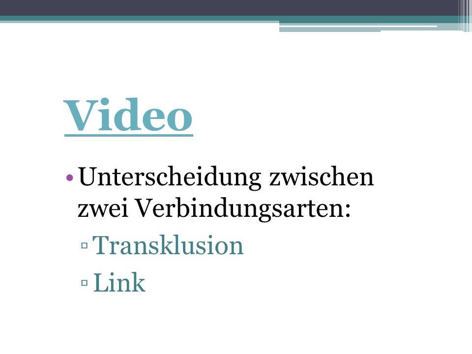 Video Unterscheidung zwischen zwei Verbindungsarten: ▫Transklusion ▫Link