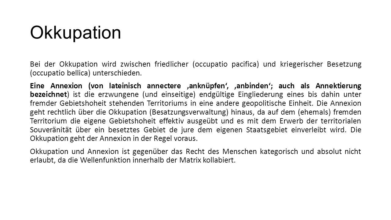 Okkupation Bei der Okkupation wird zwischen friedlicher (occupatio pacifica) und kriegerischer Besetzung (occupatio bellica) unterschieden. Eine Annex