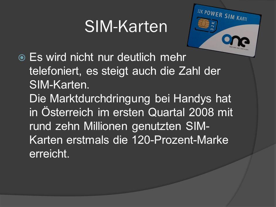 SIM-Karten  Es wird nicht nur deutlich mehr telefoniert, es steigt auch die Zahl der SIM-Karten. Die Marktdurchdringung bei Handys hat in Österreich