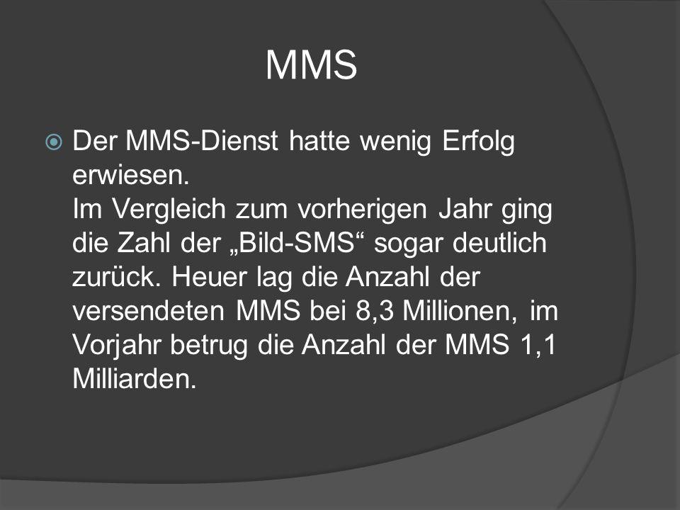 """MMS  Der MMS-Dienst hatte wenig Erfolg erwiesen. Im Vergleich zum vorherigen Jahr ging die Zahl der """"Bild-SMS"""" sogar deutlich zurück. Heuer lag die A"""