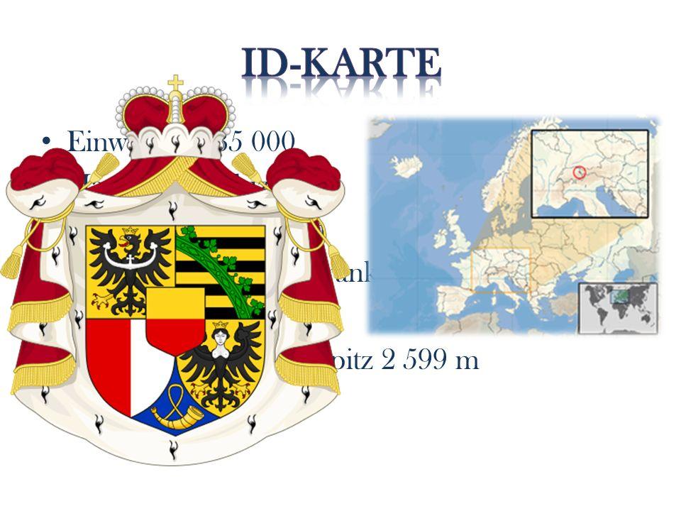 Einwohner: 35 000 Hauptort: Vaduz Amtsprache: Deutsch Währung: Schweizerfranken Fläche: 160 km 2 Höchster Berg: Grauspitz 2 599 m