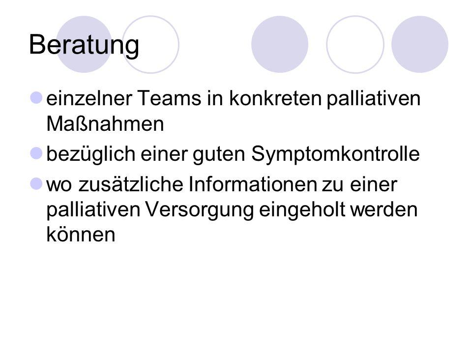 Beratung einzelner Teams in konkreten palliativen Maßnahmen bezüglich einer guten Symptomkontrolle wo zusätzliche Informationen zu einer palliativen Versorgung eingeholt werden können