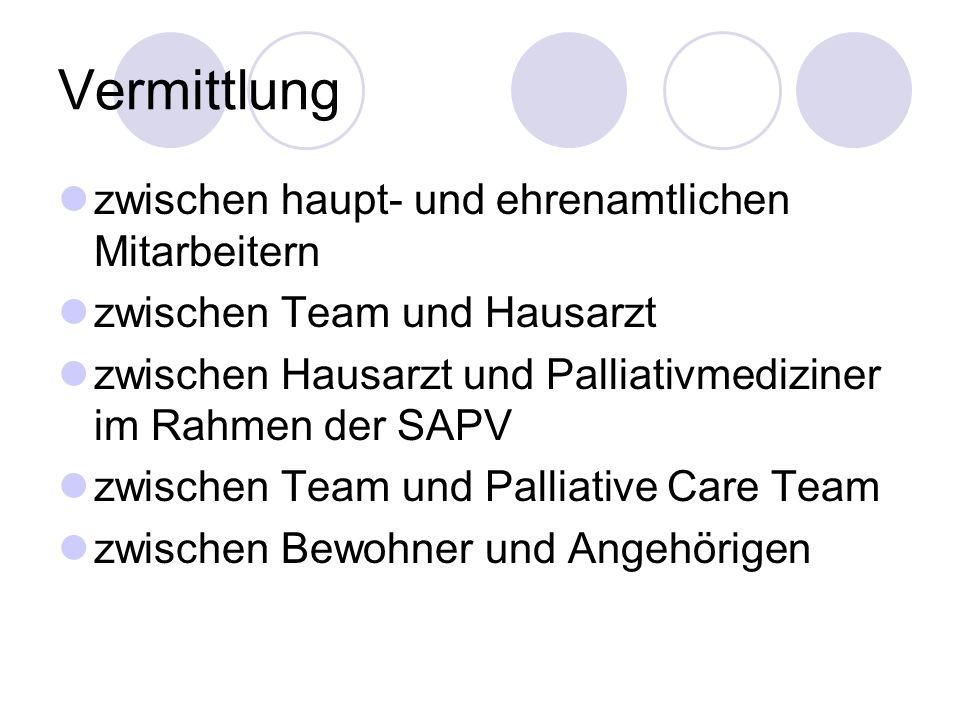 Vermittlung zwischen haupt- und ehrenamtlichen Mitarbeitern zwischen Team und Hausarzt zwischen Hausarzt und Palliativmediziner im Rahmen der SAPV zwischen Team und Palliative Care Team zwischen Bewohner und Angehörigen
