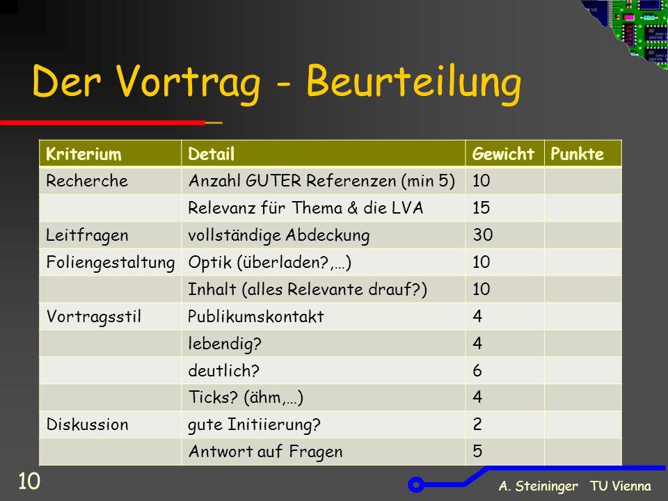 Der Vortrag - Beurteilung A.