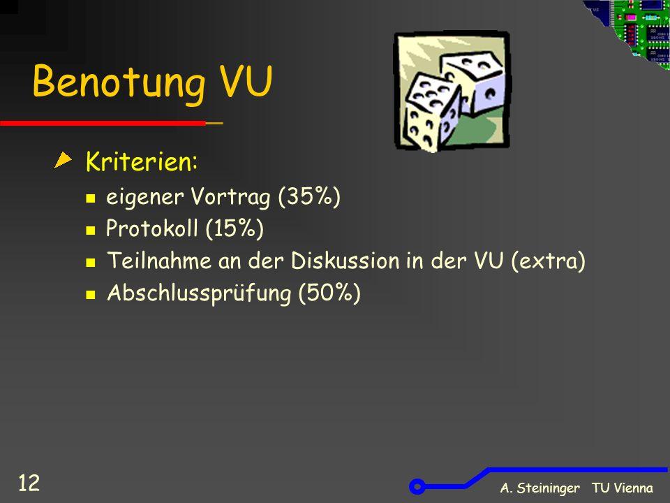 A. Steininger TU Vienna 12 Benotung VU Kriterien: eigener Vortrag (35%) Protokoll (15%) Teilnahme an der Diskussion in der VU (extra) Abschlussprüfung