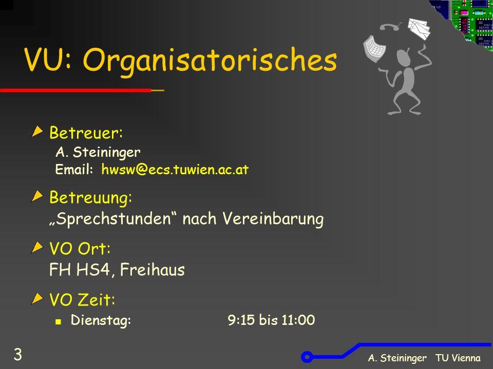 A. Steininger TU Vienna 3 VU: Organisatorisches Betreuer: A.