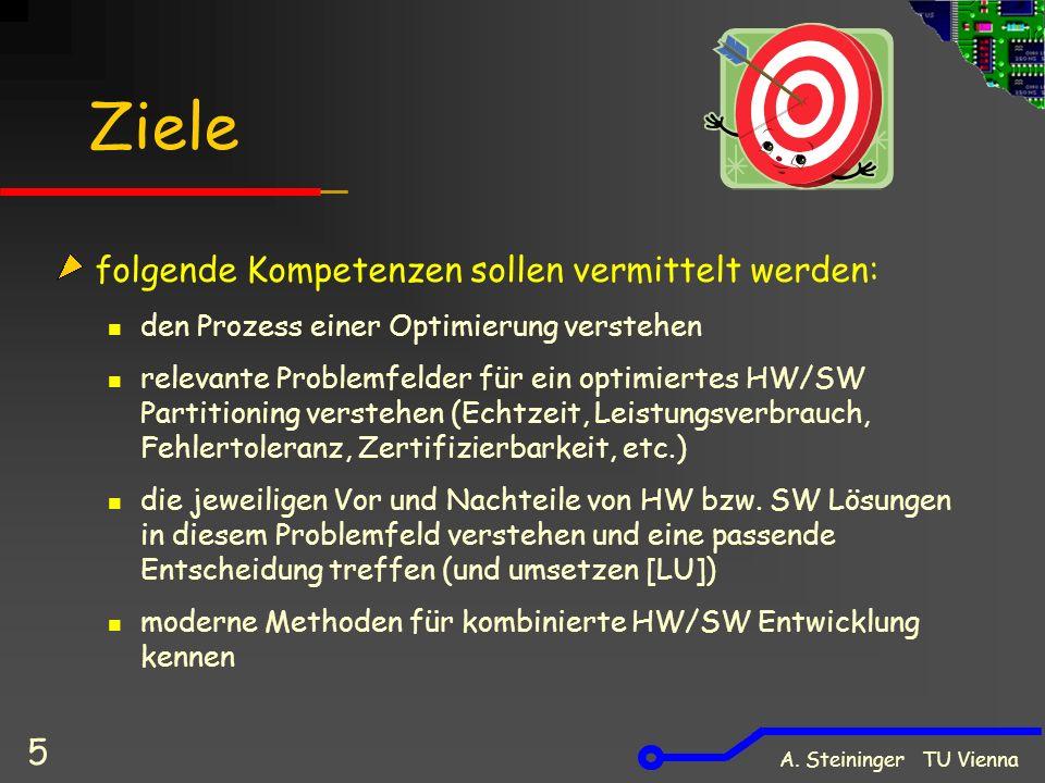 A. Steininger TU Vienna 5 Ziele folgende Kompetenzen sollen vermittelt werden: den Prozess einer Optimierung verstehen relevante Problemfelder für ein