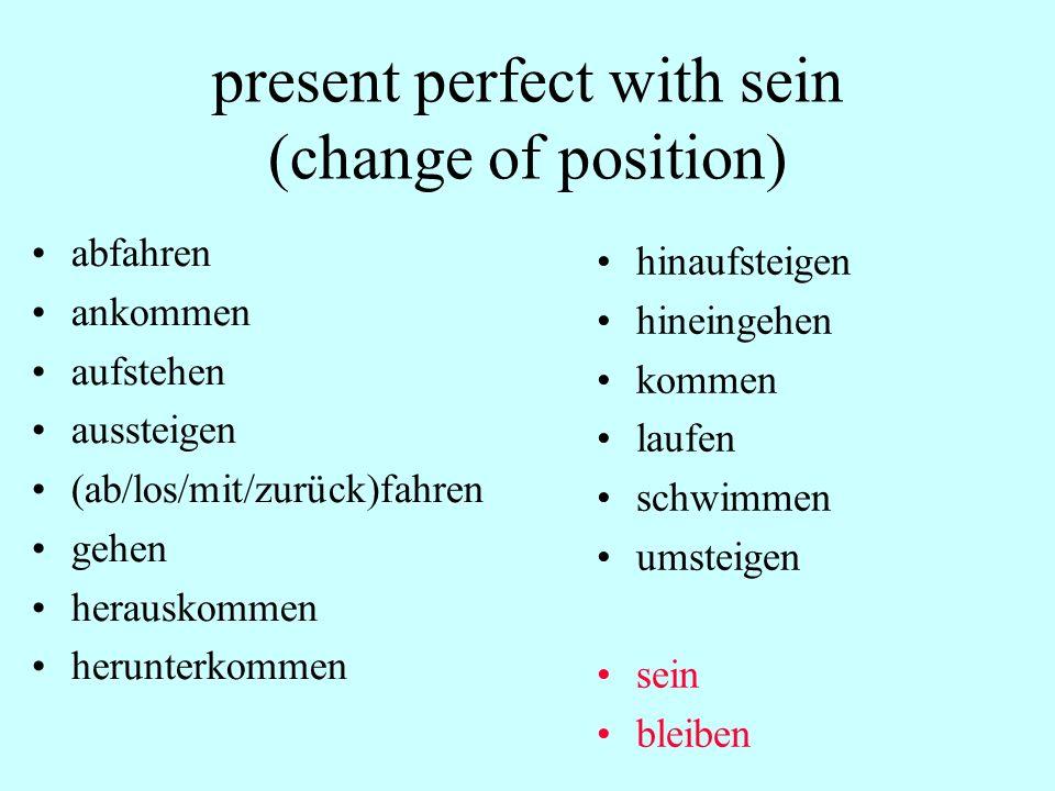 present perfect with sein (change of position) abfahren ankommen aufstehen aussteigen (ab/los/mit/zurück)fahren gehen herauskommen herunterkommen hina