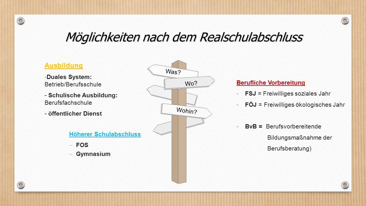 Möglichkeiten nach dem Realschulabschluss Ausbildung -Duales System: Betrieb/Berufsschule - Schulische Ausbildung: Berufsfachschule - öffentlicher Die