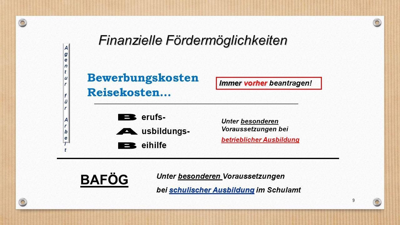 9 erufs- usbildungs- eihilfe Unter besonderen Voraussetzungen bei betrieblicher Ausbildung Bewerbungskosten Reisekosten… BAFÖG Unter besonderen Voraus