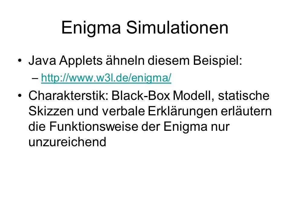 Enigma Simulationen Java Applets ähneln diesem Beispiel: –http://www.w3l.de/enigma/http://www.w3l.de/enigma/ Charakterstik: Black-Box Modell, statische Skizzen und verbale Erklärungen erläutern die Funktionsweise der Enigma nur unzureichend
