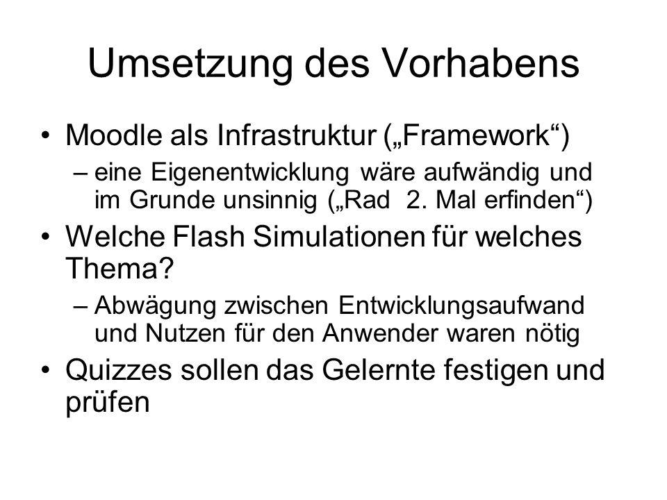 """Umsetzung des Vorhabens Moodle als Infrastruktur (""""Framework"""") –eine Eigenentwicklung wäre aufwändig und im Grunde unsinnig (""""Rad 2. Mal erfinden"""") We"""