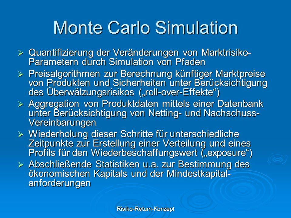 """Risiko-Return-Konzept Monte Carlo Simulation  Quantifizierung der Veränderungen von Marktrisiko- Parametern durch Simulation von Pfaden  Preisalgorithmen zur Berechnung künftiger Marktpreise von Produkten und Sicherheiten unter Berücksichtigung des Überwälzungsrisikos (""""roll-over-Effekte )  Aggregation von Produktdaten mittels einer Datenbank unter Berücksichtigung von Netting- und Nachschuss- Vereinbarungen  Wiederholung dieser Schritte für unterschiedliche Zeitpunkte zur Erstellung einer Verteilung und eines Profils für den Wiederbeschaffungswert (""""exposure )  Abschließende Statistiken u.a."""