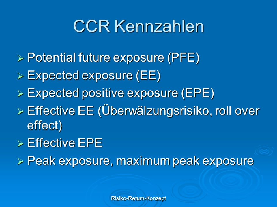 Risiko-Return-Konzept CCR Kennzahlen  Potential future exposure (PFE)  Expected exposure (EE)  Expected positive exposure (EPE)  Effective EE (Übe