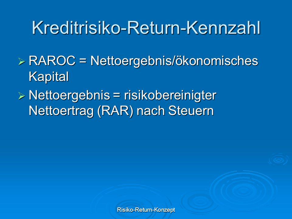 Risiko-Return-Konzept Kreditrisiko-Return-Kennzahl  RAROC = Nettoergebnis/ökonomisches Kapital  Nettoergebnis = risikobereinigter Nettoertrag (RAR)