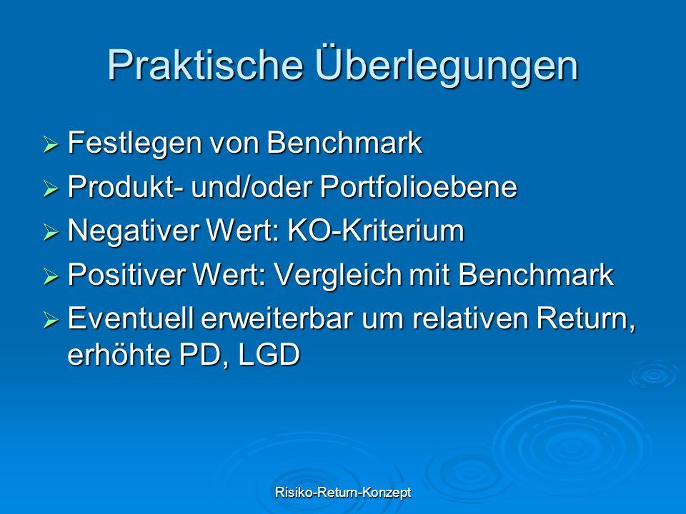 Risiko-Return-Konzept Praktische Überlegungen  Festlegen von Benchmark  Produkt- und/oder Portfolioebene  Negativer Wert: KO-Kriterium  Positiver Wert: Vergleich mit Benchmark  Eventuell erweiterbar um relativen Return, erhöhte PD, LGD