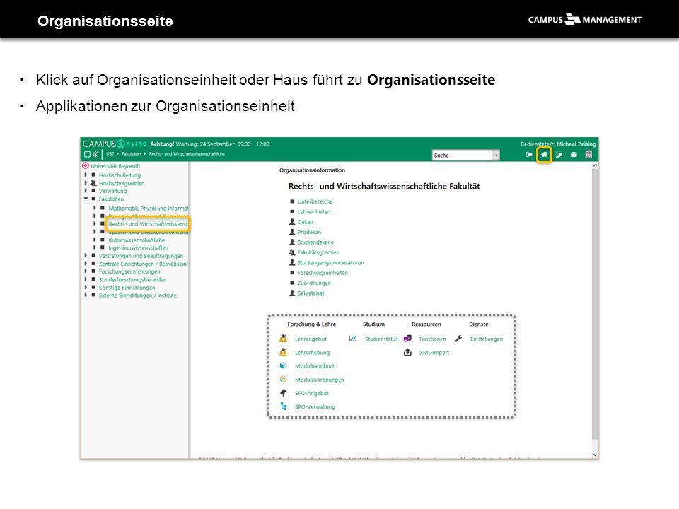 ▪Klick auf Organisationseinheit oder Haus führt zu Organisationsseite ▪Applikationen zur Organisationseinheit Organisationsseite
