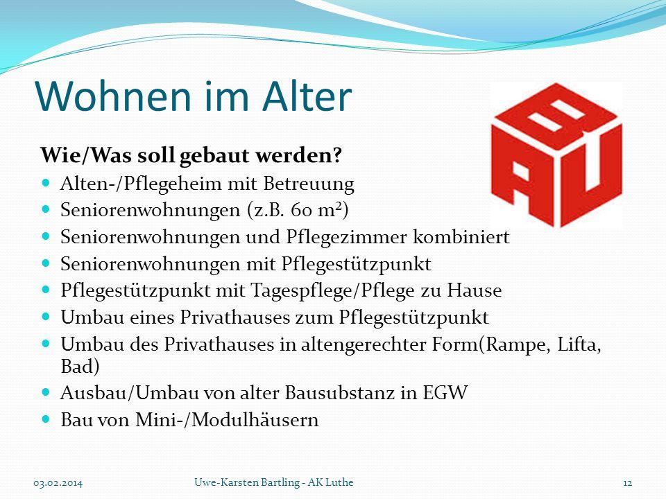 Wohnen im Alter Wie/Was soll gebaut werden? Alten-/Pflegeheim mit Betreuung Seniorenwohnungen (z.B. 60 m²) Seniorenwohnungen und Pflegezimmer kombinie