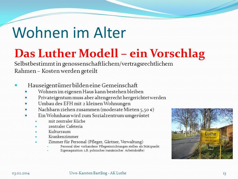 Wohnen im Alter Das Luther Modell – ein Vorschlag Selbstbestimmt in genossenschaftlichem/vertragsrechtlichem Rahmen – Kosten werden geteilt Hauseigent