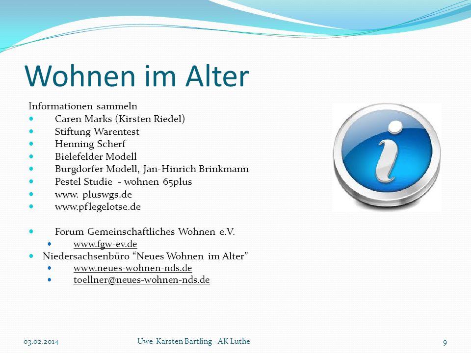 Wohnen im Alter Informationen sammeln Caren Marks (Kirsten Riedel) Stiftung Warentest Henning Scherf Bielefelder Modell Burgdorfer Modell, Jan-Hinrich