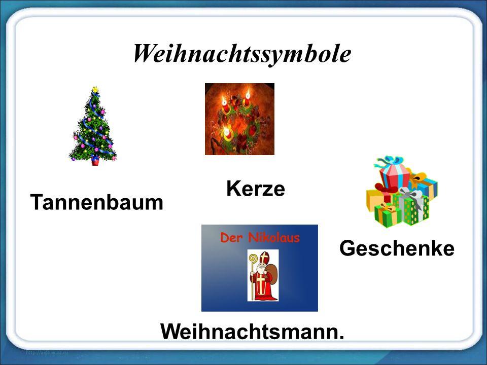 Weihnachtssymbole Tannenbaum Kerze Geschenke Weihnachtsmann.