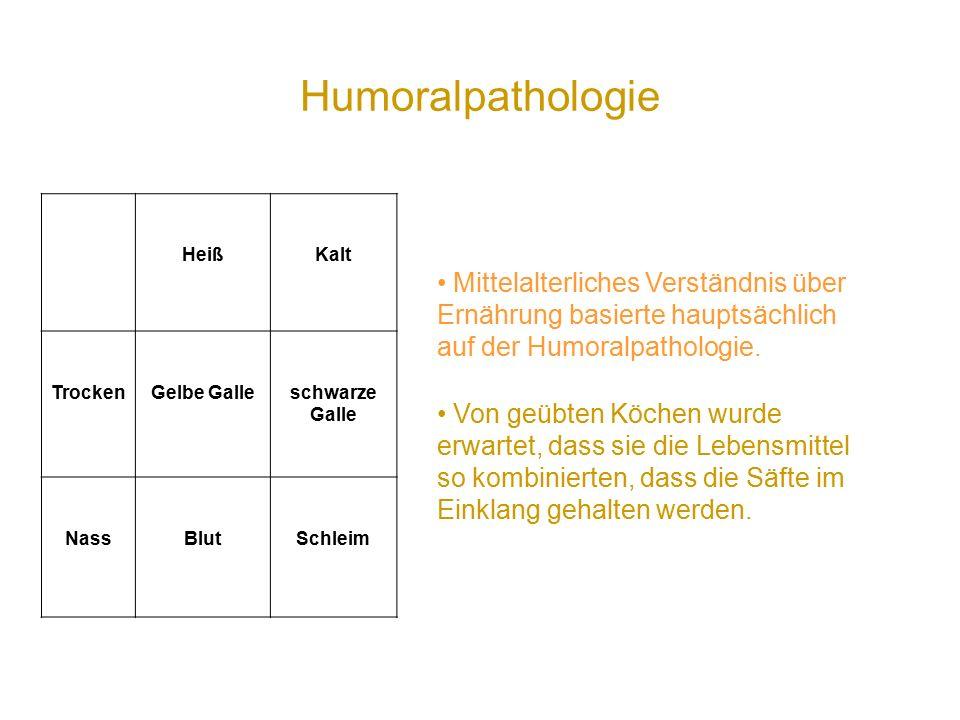 Humoralpathologie HeißKalt TrockenGelbe Galleschwarze Galle NassBlutSchleim Mittelalterliches Verständnis über Ernährung basierte hauptsächlich auf der Humoralpathologie.