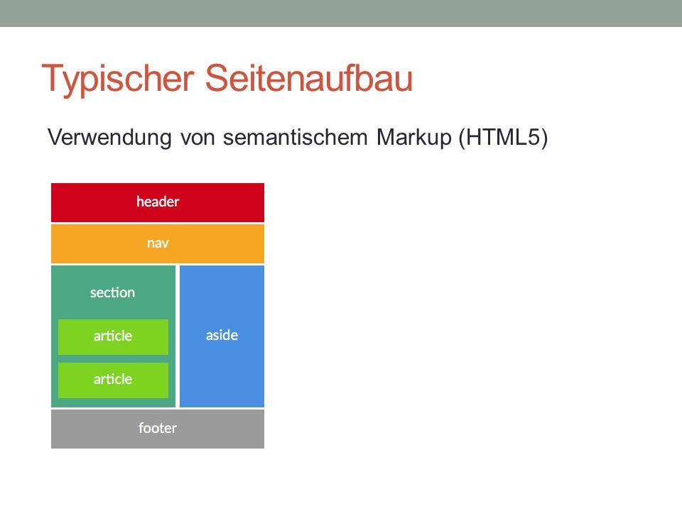 Typischer Seitenaufbau Verwendung von semantischem Markup (HTML5)