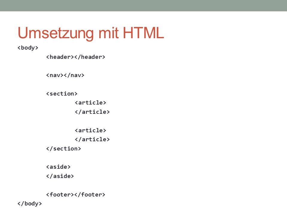 Umsetzung mit HTML