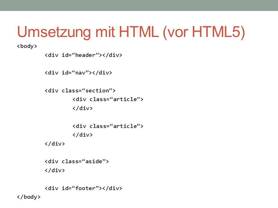 Umsetzung mit HTML (vor HTML5)
