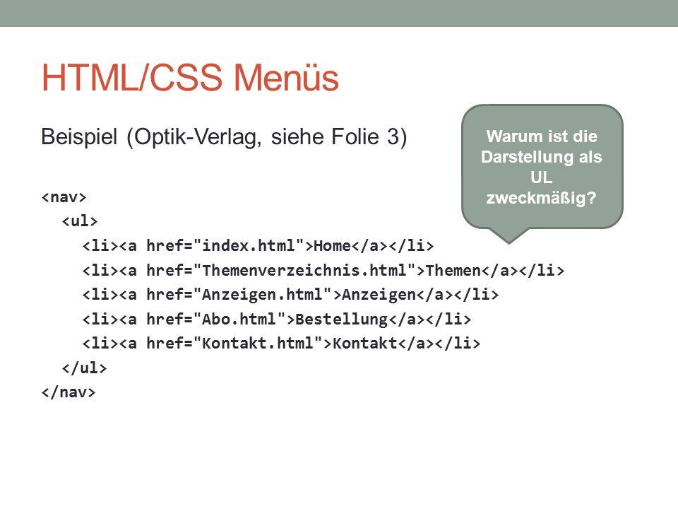 HTML/CSS Menüs Beispiel (Optik-Verlag, siehe Folie 3) Home Themen Anzeigen Bestellung Kontakt Warum ist die Darstellung als UL zweckmäßig?