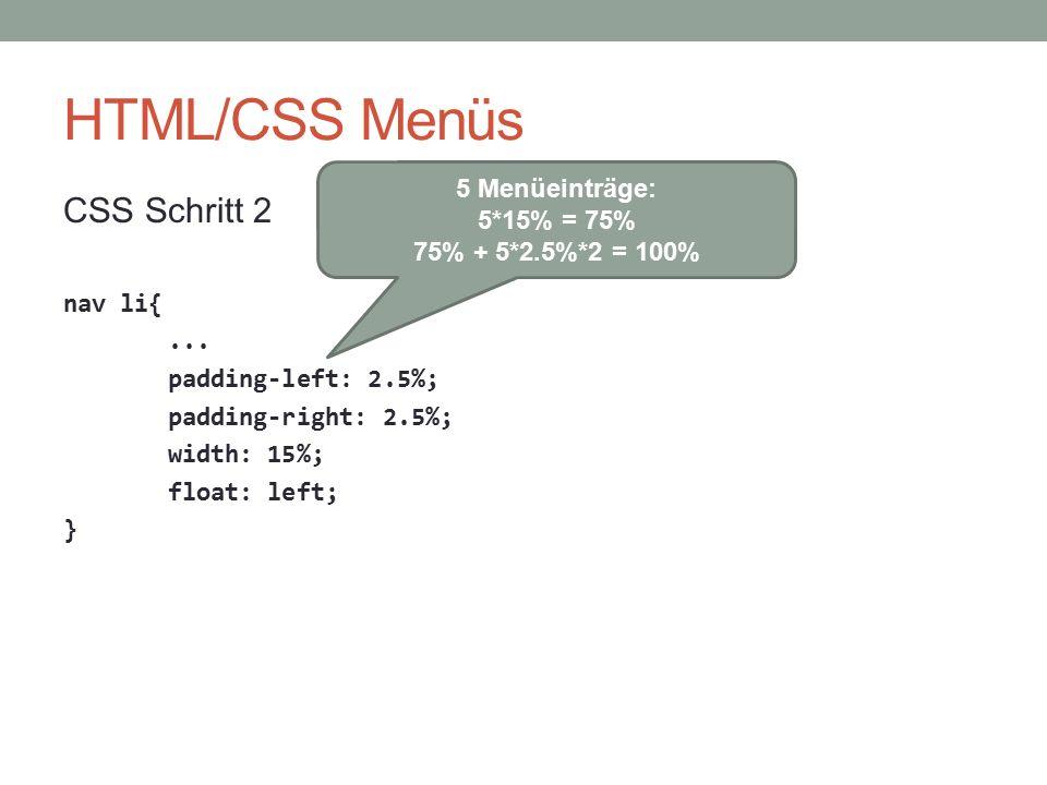 HTML/CSS Menüs CSS Schritt 2 nav li{... padding-left: 2.5%; padding-right: 2.5%; width: 15%; float: left; } 5 Menüeinträge: 5*15% = 75% 75% + 5*2.5%*2