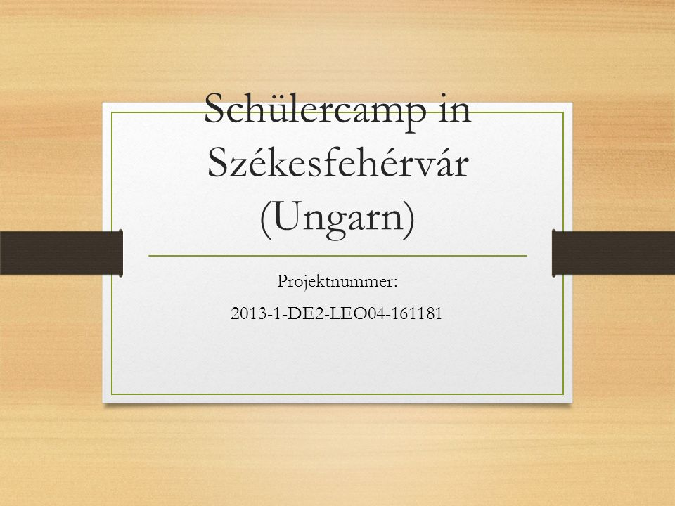 Schülercamp in Székesfehérvár (Ungarn) Projektnummer: 2013-1-DE2-LEO04-161181