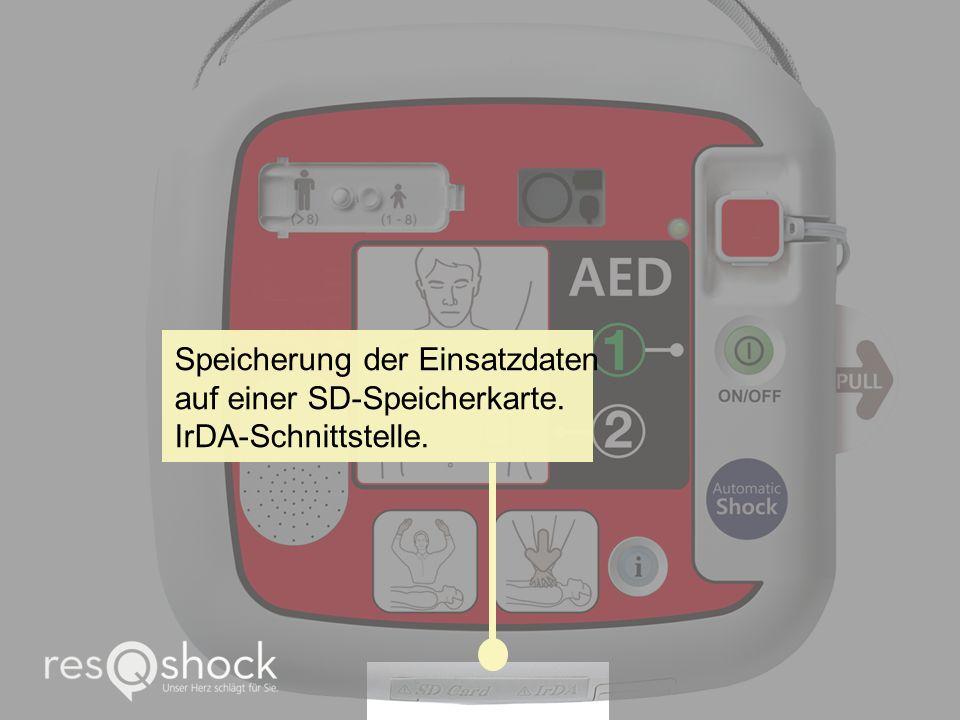 Speicherung der Einsatzdaten auf einer SD-Speicherkarte. IrDA-Schnittstelle.