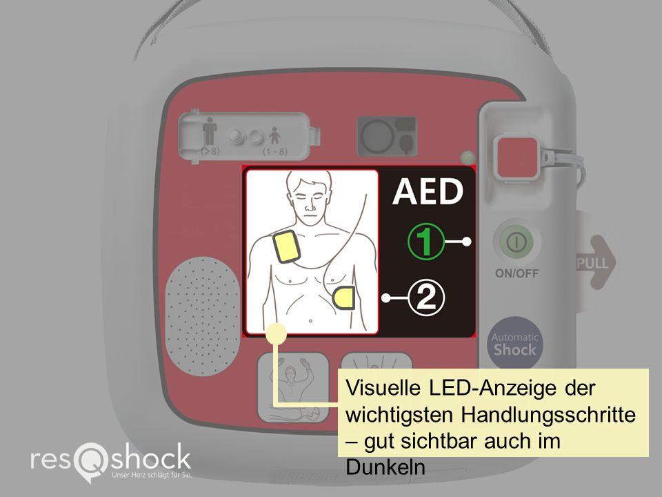 Visuelle LED-Anzeige der wichtigsten Handlungsschritte – gut sichtbar auch im Dunkeln