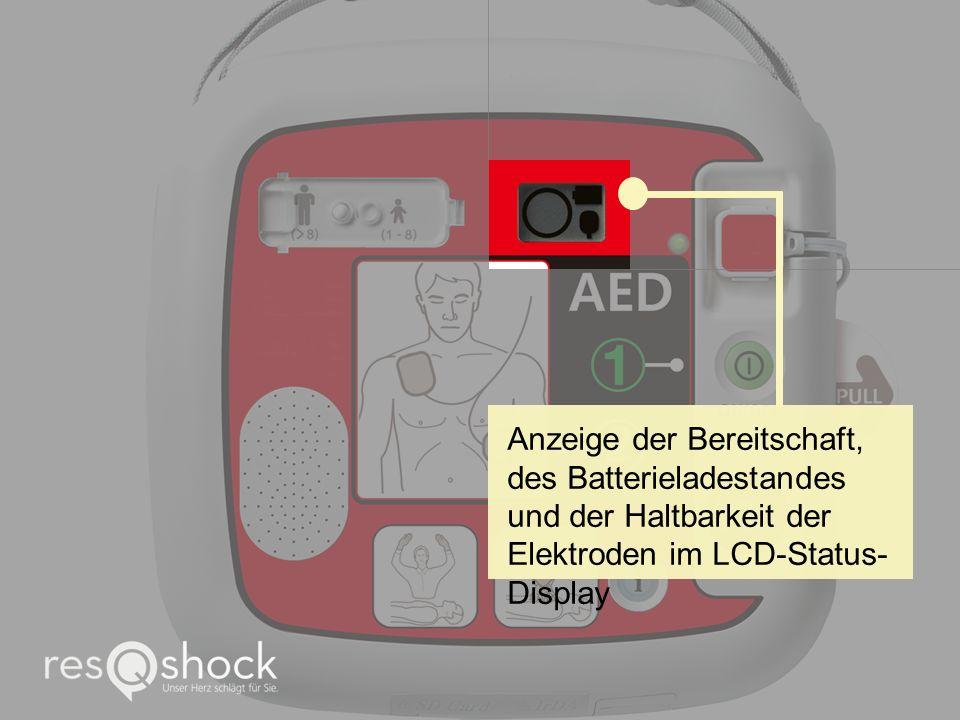 Anzeige der Bereitschaft, des Batterieladestandes und der Haltbarkeit der Elektroden im LCD-Status- Display