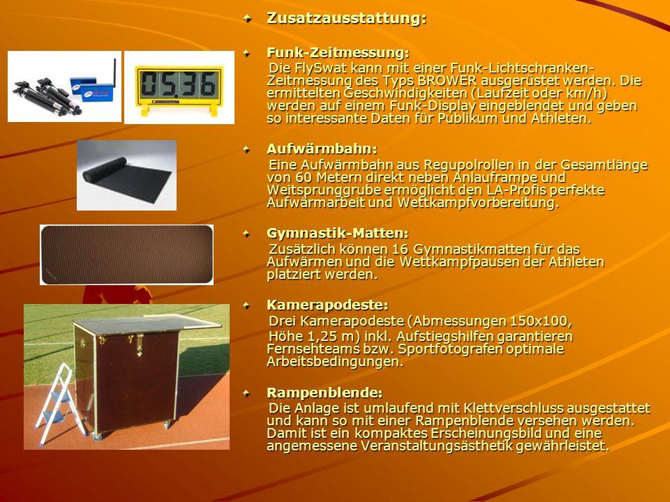 Zusatzausstattung:Funk-Zeitmessung: Die FlySwat kann mit einer Funk-Lichtschranken- Zeitmessung des Typs BROWER ausgerüstet werden. Die ermittelten Ge