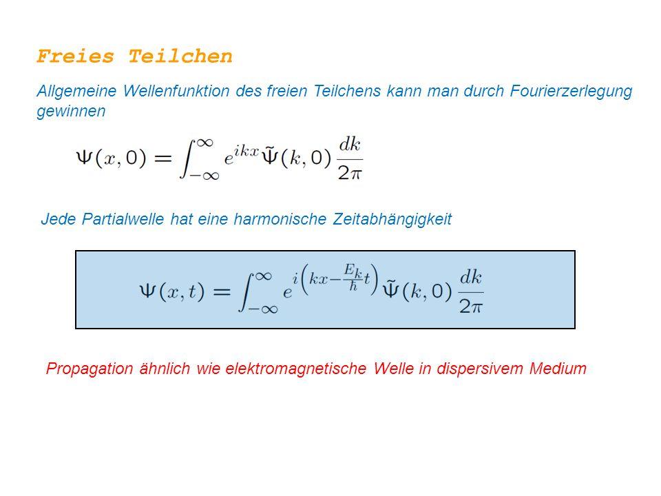 Freies Teilchen Allgemeine Wellenfunktion des freien Teilchens kann man durch Fourierzerlegung gewinnen Jede Partialwelle hat eine harmonische Zeitabhängigkeit Propagation ähnlich wie elektromagnetische Welle in dispersivem Medium