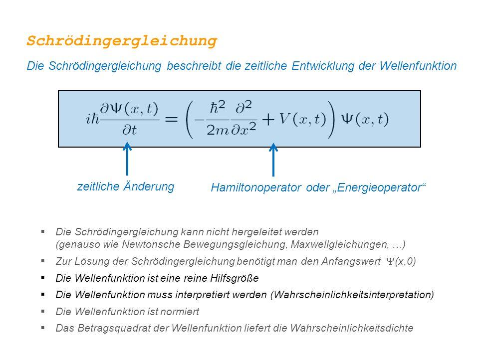 """Schrödingergleichung Die Schrödingergleichung beschreibt die zeitliche Entwicklung der Wellenfunktion zeitliche Änderung Hamiltonoperator oder """"Energieoperator  Die Schrödingergleichung kann nicht hergeleitet werden (genauso wie Newtonsche Bewegungsgleichung, Maxwellgleichungen, …)  Zur Lösung der Schrödingergleichung benötigt man den Anfangswert  (x,0)  Die Wellenfunktion ist eine reine Hilfsgröße  Die Wellenfunktion muss interpretiert werden (Wahrscheinlichkeitsinterpretation)  Die Wellenfunktion ist normiert  Das Betragsquadrat der Wellenfunktion liefert die Wahrscheinlichkeitsdichte"""